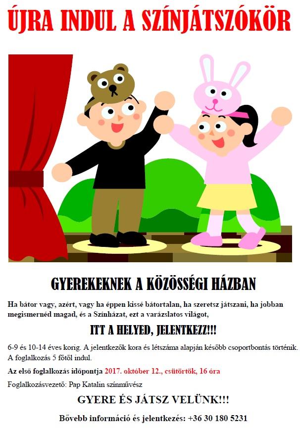 színjátszókör gyerekeknek