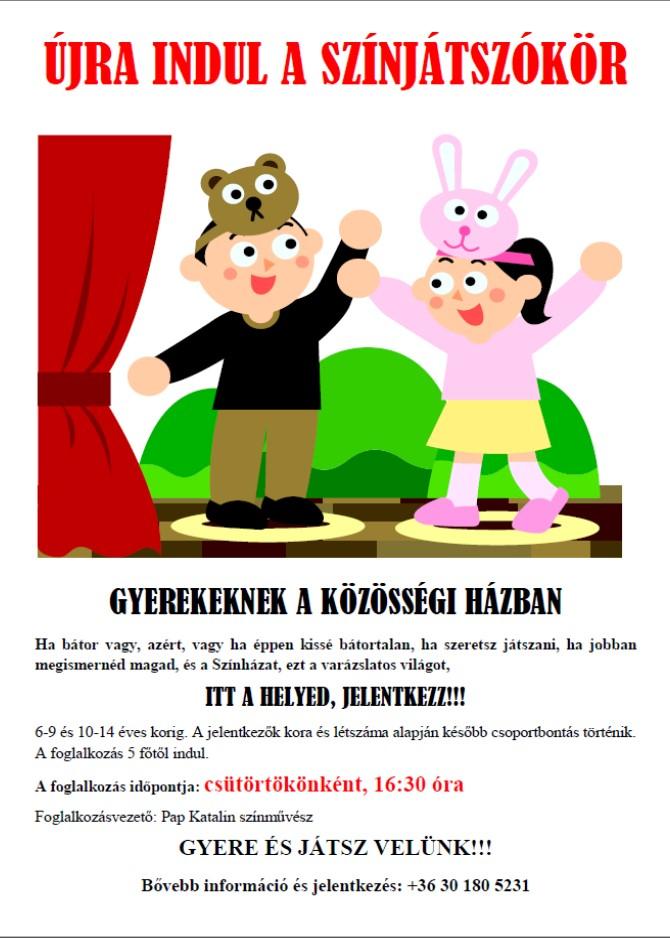 színjátszókör gyerekeknek 2017