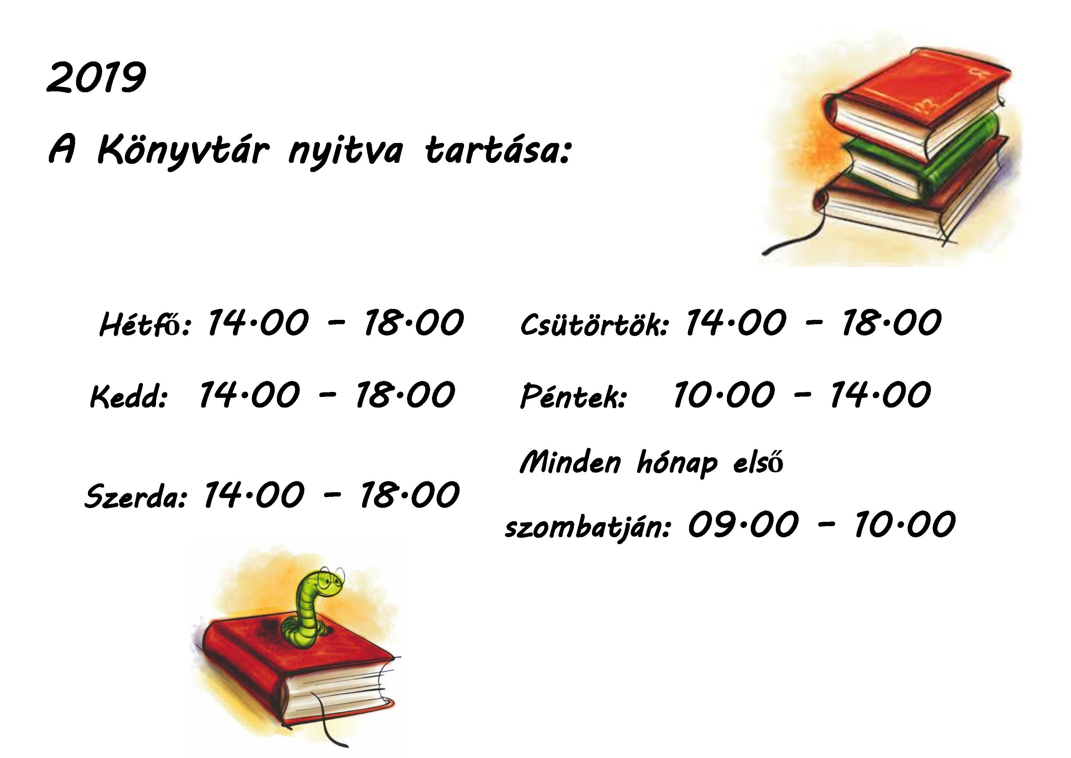 Könyvtár nyitvatartása2019